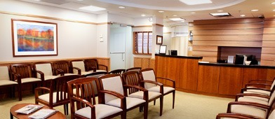 Waiting room at SkinCare Physicians in Chestnut Hill, Massachusetts