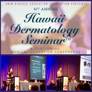photos of Drs. Kaminer and Sikora at the Hawaii Dermatology Meeting