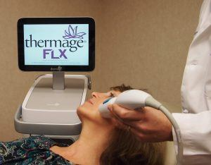 Woman treated with Thermage FLX for skin tightening