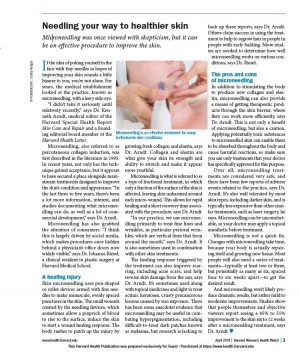 Photo of Harvard Women Health Watch's article on microneedling