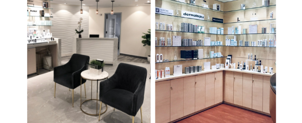 Photo collage with the Advanced Dermatology Spa's waiting room  and the SkinCare Boutique
