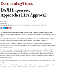 Screenshot of Dermatology Times article on DAXI neuromodulator