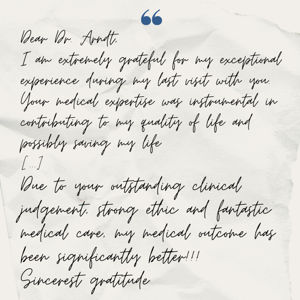 Heartwarming note from Dr. Arndt's patient