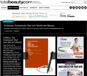 TotalBeauty.com article on Cellfina